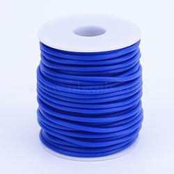 Tuyau creux corde en caoutchouc synthétique tubulaire pvc, enroulé aurond de plastique blanc bobine, bleu, 3mm, trou: 1.5 mm; environ 25 m / rouleau(RCOR-R007-3mm-13)