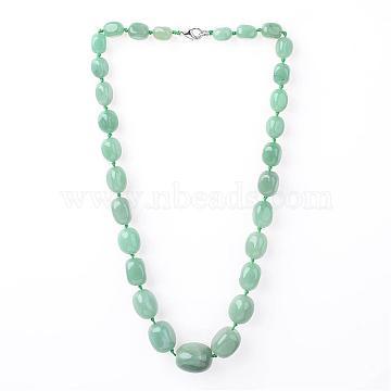 Green Aventurine Graduated Beads Necklaces, with Platinum Brass Spring Ring Clasps, Medium Aquamarine, 20.7 inches(NIEW-F118-A02)