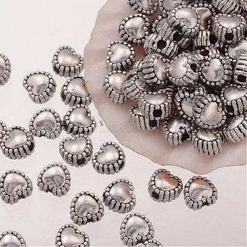 Heart Shaped Antique Silver Tibetan Silver Alloy Beads, Lead Free & Nickel Free & Cadmium Free, about 5.5mm in diameter, Hole: 1.5mm(X-AB08-NF)