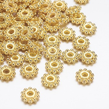 Gear Tibetan Style Alloy Spacer Beads, Lead Free & Cadmium Free & Nickel Free, Golden, 6.5mm, Hole: 2mm(X-AB145-NFG)