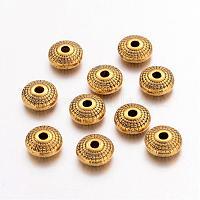 Perles de séparateur de style tibétain , sans plomb et sans cadmium, plat rond, de couleur or antique , environ 8 mm de diamètre, épaisseur de 4mm, Trou: 1.5mm