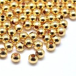 Laiton environnement perles rondes, sans plomb et sans cadmium et sans nickel, or, 3mm, Trou: 0.5mm(X-KK-M085-27G-NR)