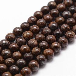 Bronzite naturel brins de perles, rond, 6mm, trou: 1mm; environ 61 pcs/chapelet, 14.9''~15.1''(G-D840-57-6mm)