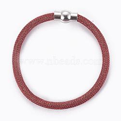 """Bracelets à mailles en laiton, avec fermoir magnétique en laiton, rouge, 8""""~8-1/8"""" (20.4~20.7cm); 5mm(BJEW-F372-01E)"""