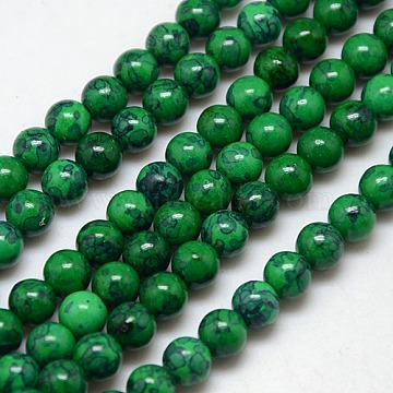 8mm DarkGreen Round Fossil Beads