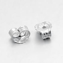 Результаты стерлингового серебра, для ушных орехов, серебряные, 5x5x3 мм, отверстие : 0.6 мм(STER-O013-05)