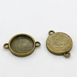 Paramètres connecteur flans plat rond cru bronze antique de bijoux cabochon, sans plomb et sans cadmium et sans nickel, taille: environ 26 mm de long,  largeur de 19 mm , 15 mm de diamètre intérieur , épaisseur de 3.5 mm , Trou: 2 mm(X-TIBEB-LF11386Y-AB-FF)