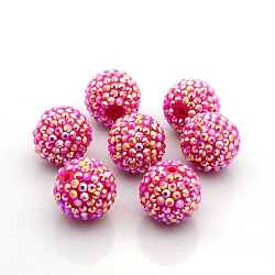 Коренастый смолы горный хрусталь жевательная резинка мяч бусины, с желе внутри стиля, AB цвет, круглые, ярко-розовые, 22x20 мм, отверстие : 2.5 мм(X-RESI-S253-22mm-GAB3)