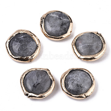 Natural Labradorite Beads, with Light Gold Plated Polymer Clay Edge, Flat Round, 17~19x17~18x5~7mm, Hole: 1.2mm(G-S359-115)