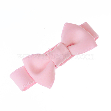 Adjustable Cotton Baby Headbands for Girls, Hair Accessories, Bowknot, PearlPink, 14.96inches(380mm)x40mm(OHAR-Q278-11D)