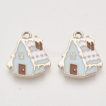 Christmas Theme, Alloy Enamel Pendants, Light Gold, Snow House, Light Blue, 19.5x17x2mm, Hole: 2mm(X-ENAM-S119-011A)
