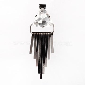 Triangle Brass Glass Rhinestone Tassels Big Pendants, Gunmetal, 92x30x13mm, Hole: 5mm(RB-M071-07B)