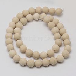 """Perles en fossile naturelle, mat, rond, 8mm, trou: 1mm; environ 46 pcs/chapelet, 15.1""""(G-D694-8mm)"""