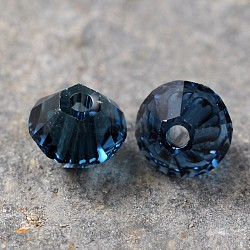 Austrian Crystal Beads, 5301 4mm, Bicone, Montana, Size: about 4mm long, 4mm wide, Hole: 1mm(X-5301-4mm207)