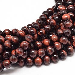 Natural Red Tiger Eye Bead Strands, Dyed & Heated, Grade A, Round, 6mm, Hole: 1mm; about 62pcs/strand, 15inches