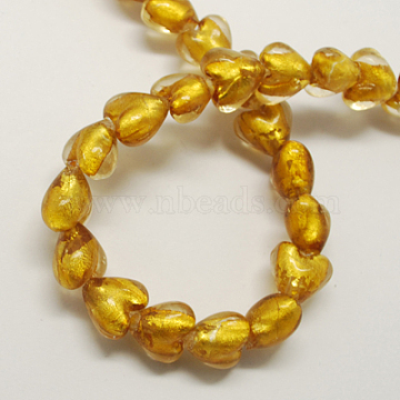 20mm Goldenrod Heart Silver Foil Beads