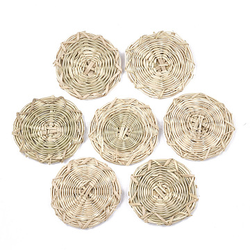 Handmade Reed Cane/Rattan Woven Beads, For Making Straw Earrings and Necklaces, No Hole/Undrilled, Flat Round, AntiqueWhite, 46~48x4mm(X-WOVE-T006-058)