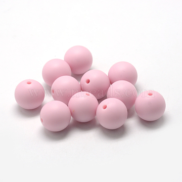 Food Grade Environmental Silicone Beads, Chewing Beads For Teethers, DIY Nursing Necklaces Making, Round, Pink, 12mm, Hole: 2mm(X-SIL-R008B-58)