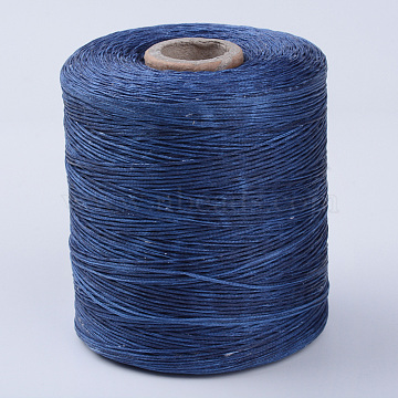 Eco-Friendly Waxed Polyester Cord, Blue, 1mm, about 109.36 yards(100m)/roll(YC-Q003-113)