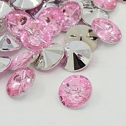 Boutons en acrylique avec strass, 1-trou, facette, rivoli xilion, rose clair, 15x8mm, Trou: 1mm(BUTT-J001-03)