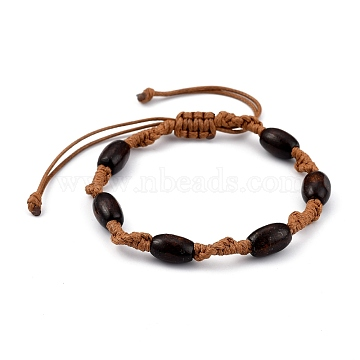 Adjustable Korean Waxed Polyester Cord Braided Bead Bracelets, with Spray Painted Natural Maple Wood Barrel Beads, Sienna, Inner Diameter: 2~3-1/2 inches(5.2~9.1cm)(BJEW-JB05438-03)