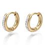 304 Stainless Steel Huggie Hoop Earrings, with Crystal Rhinestone, Ring, Golden, 13.5x2.5mm, Pin: 1mm