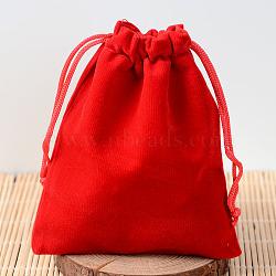 Pochettes rectangle en velours, sacs-cadeaux, rouge, 12x10 cm(TP-R002-10x12-04)