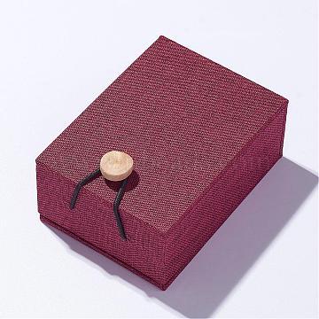 Burlap and Cloth Pendant Necklace Boxes, Rectangle, Dark Red, 10.5x7.6x4.3cm(OBOX-D004-01)