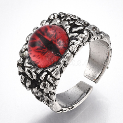 Bagues en alliage de verre, anneaux large bande, oeil de dragon, argent antique, rouge, taille 10, 20mm(RJEW-T006-01C)