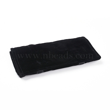 Foldable Velvet Jewelry Travel Roll Bag, Portable Storage Case, For Necklace Display, Black, 64.5x57x0.6cm(TP-L005-07)