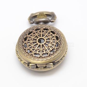 Vintage Hollow Flat Round Alloy Quartz Watch Heads for Pocket Watch Pendant Necklace Making, Antique Bronze, 36x27x11.5mm(WACH-M109-02)