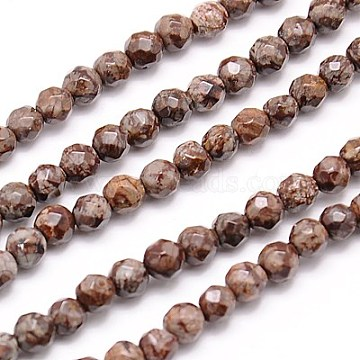 Natural Snowflake Obsidian Beads Strands, Faceted, Round, Camel, 4mm, Hole: 1mm; about 90pcs/strand, 15.35 inches(G-G545-08B)