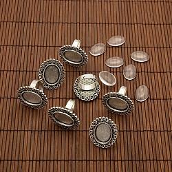 13x18 мм овальные прозрачные стеклянные кабошоны и железа цветочные компоненты палец кольцо сплава кабошон сеттинги панели для получения DIY, античное серебро, 17 мм внутренний диаметр; лоток: 13x18 мм(DIY-X0195-AS)