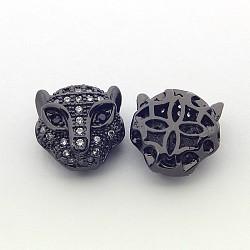 Perles en laiton micro pave cz, leopard, Sans cadmium & sans nickel & sans plomb, gunmetal, 11.5x11.5x7mm, Trou: 1mm(ZIRC-P074-29B-NR)