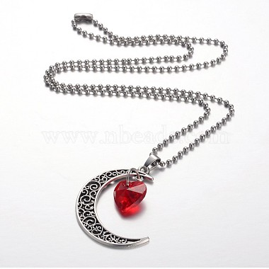 Tibetan Style Alloy Moon Pendant Necklaces(NJEW-JN01179)-2