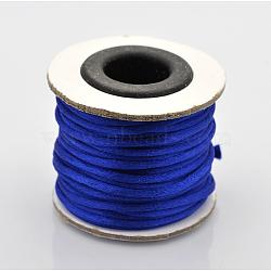 Cordons fil de nylon tressé rond de fabrication de noeuds chinois de macrame rattail, bleu, 2 mm; environ 10 m/rouleau(X-NWIR-O001-A-08)