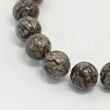 Gemstone Beads Strands, Natural Snowflake Obsidian, Round, about 8mm in diameter, hole: 1mm, about 50pcs/strand(Z0ND6013)