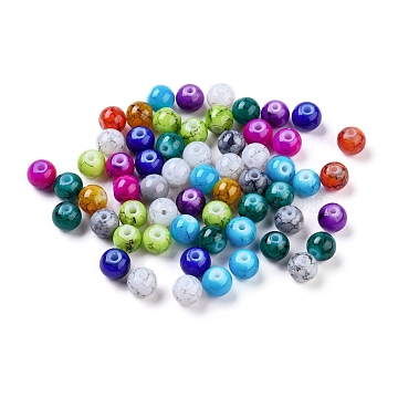 Spray Painted Glass Beads, Round, Mixed Color, 6mm; Hole: 1.3~1.6mm(X-GLAD-S075-6mm-M)