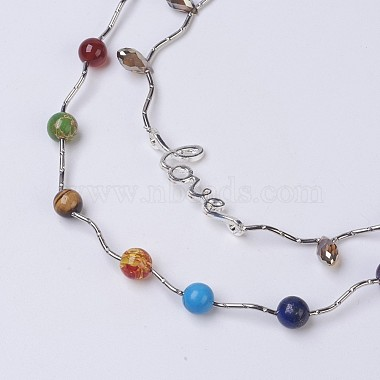 Chakra Natural & Synthetic Mixed Stone Tiered Necklaces(NJEW-JN02125)-3