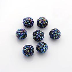 Бусины со стразами из смолы, круглые, темно-синие, Размер : диаметром около 14 мм , отверстие : 2 мм(X-RESI-A005-1)