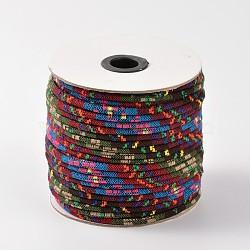 Cordes ethniques en tissu, brun, 4 mm; environ 50 mètres / rouleau (150 pieds / rouleau)(OCOR-F003-4mm-05)