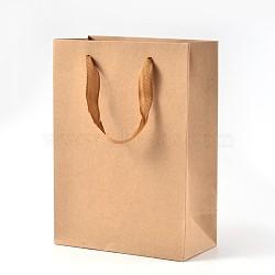 Sacs en papier kraft rectangle, sacs-cadeaux, sacs à provisions, avec poignées en corde de nylon, burlywood, 28x20x10 cm(AJEW-L048C-02)
