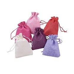 sachets d'emballage de jute, sacs à cordonnet, couleur mélangée, 13.3~14x10~10.2 mm; 30 PCs / ensemble(ABAG-X0001-10x14-05)
