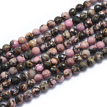 Natural Rhodonite Beads Strands, Round, Faceted(128 Facets), Alice Blue, 6mm, Hole: 0.8mm; about 64pcs/strand, 15.35 inches(39cm)(G-K310-A12-6mm)