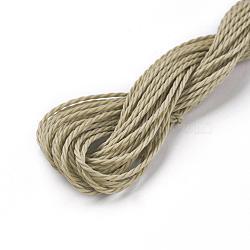 cordon de polyester ciré, Darkkhaki, 1 mm; sur 8.96~9 m / rouleau(YC-WH0005-20)