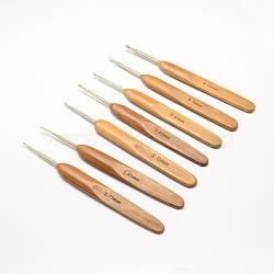 Bambou poignée fer aiguilles crochet de crochets, taille mixte, Pérou, 133~136x13x7 mm; broches: 0.5~3.5 mm(TOOL-R034-M)