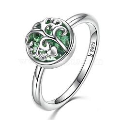 925 bagues en argent sterling, avec le verre, sculpté 925, plat et circulaire avec arbre de vie, vert, argent antique, taille 7, 17.3 mm(RJEW-FF0014-02-7)