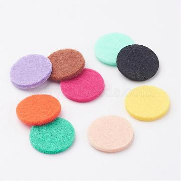 Fibre Perfume Pads, Essential Oil Diffuser Locket Pads, Flat Round, Colorful, 22.5x3mm; about 9pc/bag(DIY-E003-14)