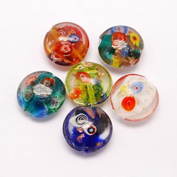 Handmade Gold Sand Lampwork Beads, with Millefiori Glass, Flat Round, Mixed Color, 20x10mm, Hole: 1.5mm(X-LAMP-S037-M)