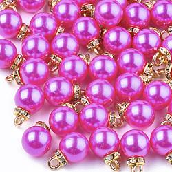 Абс пластмассовые жемчужные подвески, горный хрусталь и железная фурнитура, круглые, золотые, темно-розовые , 15~16x10x10 мм, отверстие : 2 мм(MACR-T022-03C)